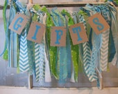 Tattered Fabric Lace Garland Gifts Banner Turquoise Lime Green Aqua Shabby Chic Vintage Barn Wedding Romantic Prairie