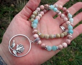 APHRODITE'S ROSE Mala-Style Devotional Necklace - Silver-Plated Pewter Rose with Rhodochrosite & Amazonite - Hellenic pagan, Valentines Day
