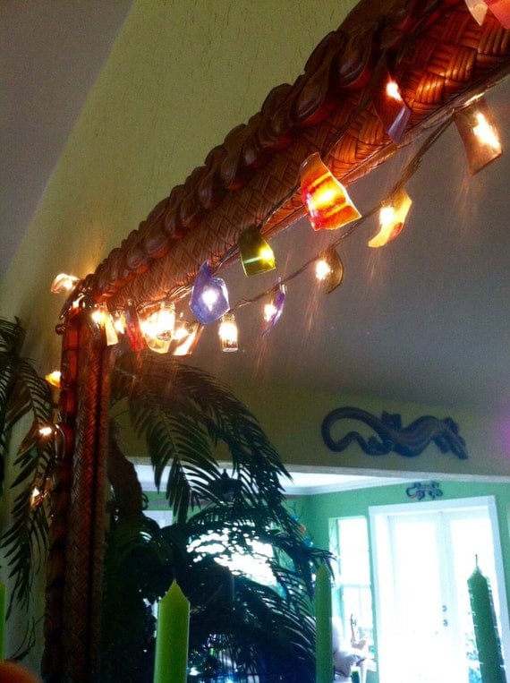 Festive twinkle, year round beautiful decor, indoors and out. Colorful, recycled, up-cycled glass lights