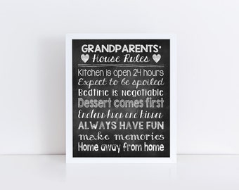 Personalized grandparent's house rules, chalkboard art, chalkboard sign, subway art, digital download