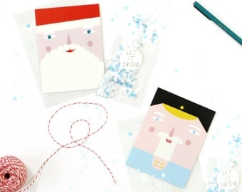 Christmas Card with confetti, Santa Card, Nutcracker card, Christmas stationary