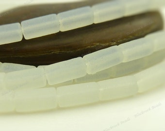 White Opal Matte Sea Glass Round Tube Beads - 8 Inch Strand - 9x4mm Frosted Beach Glass, Recycled Glass - BF21