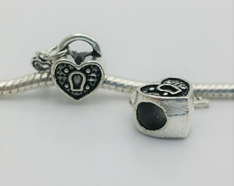 3 Beads - Heart Lock Key Silver Tone European Bead Charm E1579