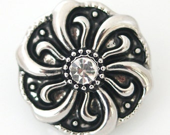 1 PC 18MM Flower White Rhinestone Silver Candy Snap Charm ds5010 CC1200