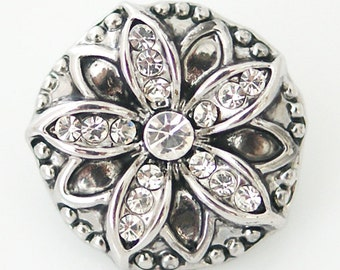 1 PC 18MM Flower White Rhinestone Silver Candy Snap Charm ds5015 CC1203