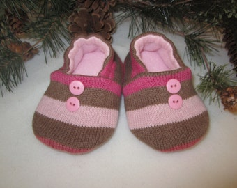 Toddler girl's cotton knit slippers pink and taupe striped fleece-lined size 9-12 mos.  RTS