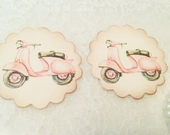 Retro Stickers-Moped Motorcycle Sticker Favor-Pink Bicycle Seal Sticker-Fun Stickers-Set of 12