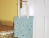 Shopping bag, tote bag, market tote, shopping tote, library bag - blue with birds / budgies print