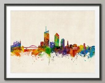 Lyon Skyline, Lyon France Cityscape Art Print (2202)