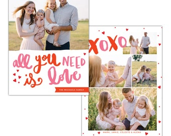 INSTANT DOWNLOAD - Valentine Photocard Template - e1252