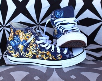 Doctor Who Van Gogh's Exploding Tardis Custom Chuck Taylor Shoes