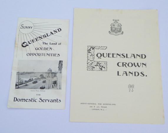 Edwardian Passages to Queensland Australia for Farmers & Domestic Servants Queensland Ephemera Australian Ephemera Assisted Passages