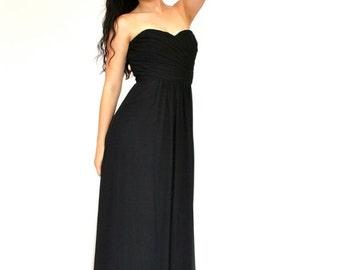 25%OFF SALE 80's Black Evening Dress, Strapless Dress, Long Black Dress, Evening Gown