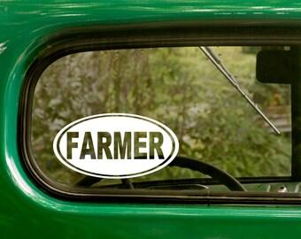 Oval Farmer Decal, Car Decal, Farmer Sticker, Farming Decal, Euro Decal, Laptop Sticker, Oval Sticker, Bumper, Vinyl Decal, Car Sticker
