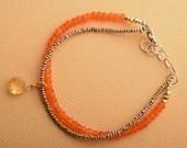 Gemstone Bracelet, Chakra Bracelet, Hill Tribe Silver Beads Bracelet, Carnelian Bracelet, Citrine Bracelet, Yoga Bracelet