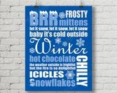 Printable Christmas Blue Winter Digital Subway Art Typography Decoration 11x14 and 8x10