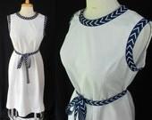 70s Chevron Fit and Flare Plus Size Dress White Navy Blue Lorac Original