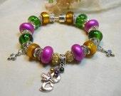 Mardi Gras Charm Bracelet, European Style Mardi Gras Bracelet, Mardi Gras Beads, Green Gold Purple Beaded Charm Bracelet, Fat Tuesday