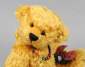 Darby an OOAK Mohair Bear Teddy Bear with ladybug