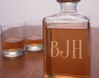 Customizable Engraved Glass Decanter and Rocks Glass Set, Monogrammed Decanter