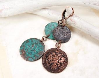 Copper Coin Earrings - Bilateral Earrings - Boho earrings - Long Earrings - Antique Earrings
