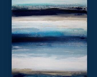 "art & collectibles, Paintings,  Acrylic Abstract Painting  Original Ora Birenbaum Titled: Indigo Blues  30x40x1.5"""