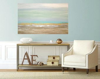 Art, Large Painting, Original Abstract, Acrylic Paintings on Canvas by Ora Birenbaum Titled: Lovely Day 30x48x1.5""
