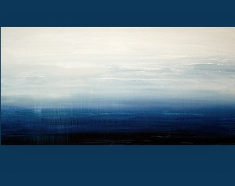 """Art, Abstract Seascape, Canvas, Acrylic, Large Painting, Original Abstract, Acrylic Paintings by Ora Birenbaum Titled: Abyss 24x48x1.5"""""""