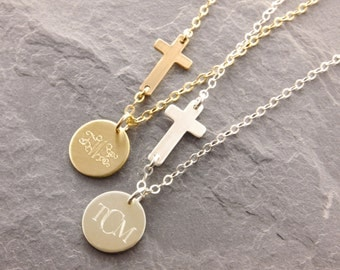 Sideways Cross Necklace, monogram cross, personalized cross, godmother necklace, godmother gifts, mom necklace, cross and initial, N14