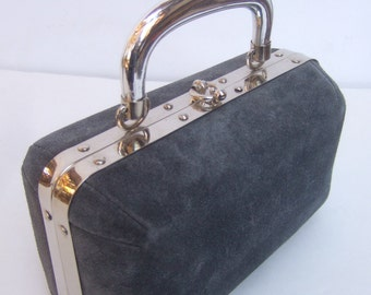 Chic Gray Suede Box Style Handbag Made in Italy