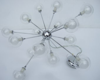 Mod Vintage Chrome Orb Ceiling Light Fixture