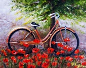 Bike in Poppies 9x12 inches framed original oil painting