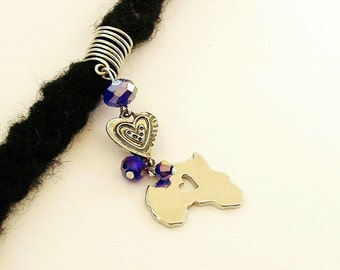 Dreadlock Jewelry - Silver-Plated Africa and Heart Charm Loc Jewel