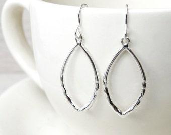Silver Marquise Hoop Earrings - Sterling Silver