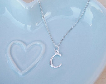 Silver Initial Necklace - Sterling Silver