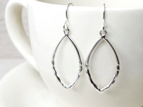 Silver Marquise Hoop Earrings - Sterling Silver