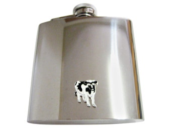 Cow 6 oz. Stainless Steel Flask