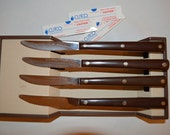Mid Century Mod Cutco Steak Table knives DD Edge Super Sharp 47 Factory Serviced Atomic Kitchen