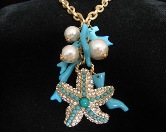 """SALE BEACH Theme Pendant Necklace. Faux Turquoise Branch Coral. 3 Big Faux Pearl Charms. 2"""" Rhinestone Starfish. Chunky Chain. 19""""-22"""" L."""