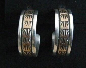 SALE Sterling Silver & Rose Gold Filled (Copper Look) Modernist Vintage Hoop Earrings. Stamped Design Running Length of each Center Band.