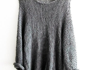 Boho OverSized Sweater   Round Neck Top Long Sleeved