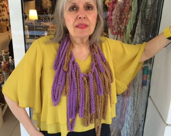 Finger Crocheted Honey Brown and Lilac Cotton Floss Thread Funky Statement Necklace