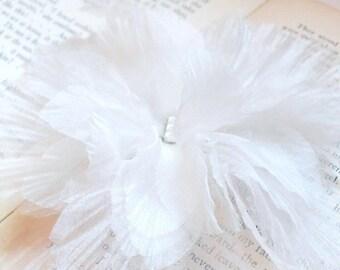 Ivory Flower Hair Clip, Wedding Hair Piece, Silk Organza Flower Ballerina Hair Fascinator