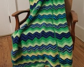"""RESERVED for lammail / Green Blue Yellow Zig Zag Vintage Crocheted Afghan 33"""" x 56"""""""