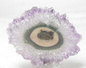 Amethyst Crystal Stalactite Violet Polished Slice with Agate Eye,  Semiprecious gemstone, February Birthstone, Wear it or Display it