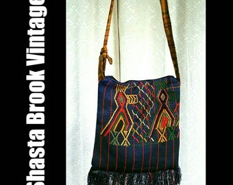Vintage Guatemalan Textile Shoulder Bag - Ethnic Navy Blue Textile Tote with Embroidered Birds - Hippie Boho Bohemian Purse - Folk Art Bag