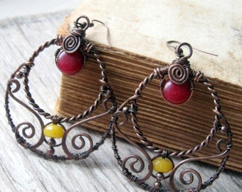 Wire Wrapped Filigree earrings - Copper Hoops /  Round Earrings - Rustic Gypsy Boho Earrings - Antique Copper and Stones