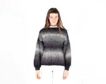 SALE - 80s Fluffy MOHAIR / WOOL Tie Dye / Dip Dye Ombre Slouchy / Oversized Knit Sweater - Unisex