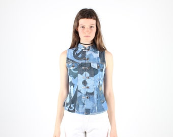90s MOSCHINO Patchwork Denim Print Button Up High Neck Fitted Crop Top / Tank / Vest