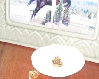 One Pair of Solid 14K Yellow Gold Rosebud Stud Earrings